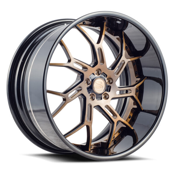 SV72-XLT | Xtreme Lip Technology | Brushed Bronze with Black Accent by Savini Wheels Switzerland